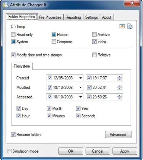 Change File and Folder Attributes with Attribute Changer