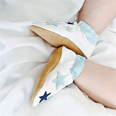 Blue Twinkle Stars - Soft Leather Baby Boy Shoes - Dotty Fish